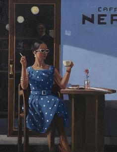 Cafe Inevitable - Coffee Time by Jack Vettriano oil on canvas Jack Vettriano, The Singing Butler, Michael Carter, Eye Painting, Edward Hopper, Coffee Time, Coffee Break, Cool Artwork, Sunsets