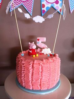 Peppa Pig Birthday Party Ideas | Photo 1 of 11 | Catch My Party  Like the icing on this cake. Make it aqua or green with George on top.