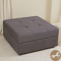 Christopher Knight Home Chatsworth Brown-Grey Fabric Storage Ottoman - $100 overstock