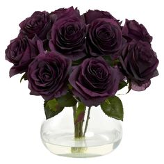 Artificial Flowers Purple Elegance Rose Arrangement With Vase Silk Flowers Arrangement Floral Rose, Purple Flower Arrangements, Purple Flower Bouquet, Purple Roses, Rose Bouquet, Flower Vases, Flower Tree, Black Roses, Roses Vase