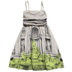 Girls Beige Trevi Fountain Print Dress