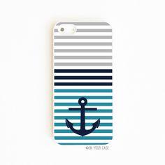iPhone 4S Case, iPhone 5/S Case, Galaxy S3/S4 Case - Nautical Stripe Anchor Teal #OnYourCaseInc