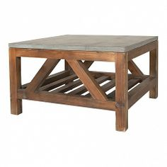Single square coffee table with stained pine base and a blue stone top - measures 80 x 80 x 45cm.