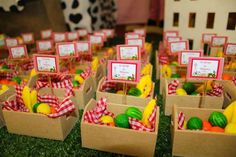 Fun favors at a farm birthday party! See more party ideas at CatchMyParty.com!