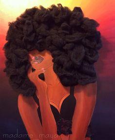 NATURAL ART Art Black Love, Black Girl Art, My Black Is Beautiful, Black Girls Rock, Black Girl Magic, Art Girl, Beautiful Women, Natural Hair Art, Natural Hair Styles