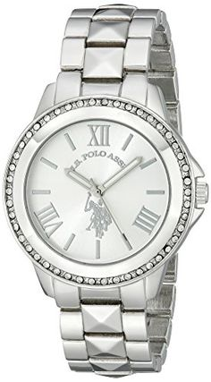 US-Polo-Assn-Womens-USC40081-Rhinestone-Accented-Silver-Tone-Watch