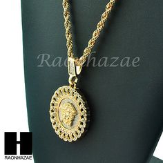 """ICED OUT GOLD CUBAN LINK MEDALLION MEDUSA PENDANT  24"""" ROPE NECKLACE CHAIN K025"""