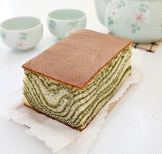 Matcha Marble Castella Cake - prepare pan and lay out ingredients before starting. Can decrease honey. Bake 320 F.  American measurements on computer.