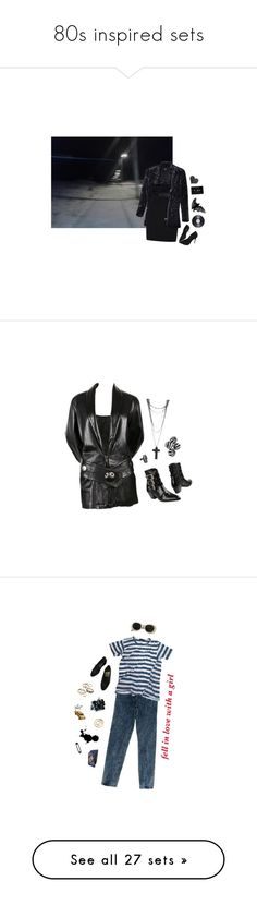 """""""80s inspired sets"""" by flowersoflife ❤ liked on Polyvore featuring George, Monki, Schutz, Issey Miyake, The Kooples, Acne Studios, Levi's, Bassike, Lanvin and CB2"""