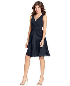 Evan Picone Dress, Sleeveless Empire-Waist Pleated - Womens Dresses - Macy's