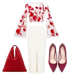 """Lady in Red"" by emma-lorena on Polyvore featuring Giorgio Armani, ADAM, Zara and MM6 Maison Margiela"