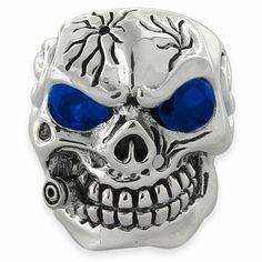 Sterling Silver Skull Ring with Blue Cubic Zirconia