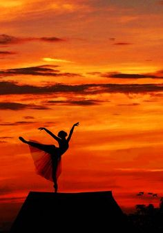 photo: balleina image agains a flaming sky...