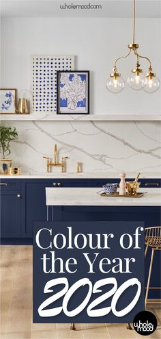 Sherwin-Williams & Dulux have released their choices for the Colours of the Year. Sherwin-Williams & Dulux have released their choices for the Colours of the Year for Check out the trends being set for the new decade! Navy Blue Kitchen Cabinets, Cheap Kitchen Cabinets, Kitchen Cabinet Colors, Painting Kitchen Cabinets, Kitchen Colors, Coloured Kitchen Cabinets, Kitchen Color Trends, Blue Kitchen Decor, Kitchen Counters