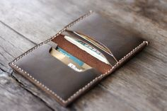 Card Wallet PERSONALIZED Leather Bifold Wallet by JooJoobs