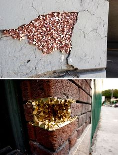 Crystallized Geode Installations To Fill Cracked Walls
