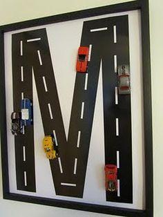 cute boy's room car wall art