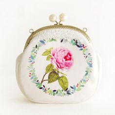 FRESH ROSETTE/FLOWER Girls Handmade Clutch Wallet Kisslock Bag Metal Frame Change Purse with Pearl Beads Garland Wreath Pattern