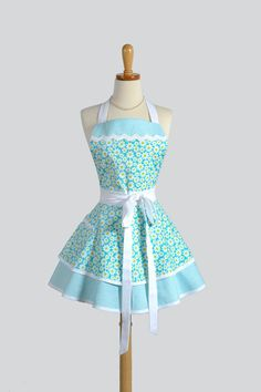 Apron Ruffled Retro Apron - Flirty Cute Apron Teal and White Daisies Vintage Style Apron Pinup Apron Personalize or Monogram