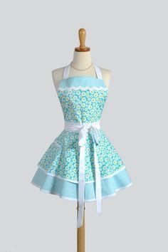 Apron Ruffled Retro Apron - Flirty Cute Apron Teal and White Daisies Vintage Style Apron Pinup Apron Personalize or Monogram