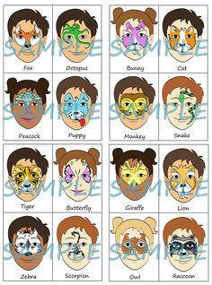Face Paint Menu Pack van 16 dieren volledig gezicht halve