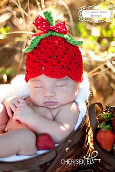 Simply Strawberry Crocheted Hat with hand-sewn beads