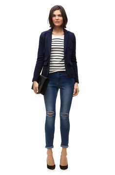 Blazer and top, not the jeans