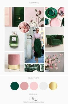 Bedroom Colour Schemes Green, Bedroom Green, Bedroom Colors, Bedroom Ideas, Colorful Interior Design, Colorful Interiors, Pink And Gold, Pink And Green, Rose Wedding