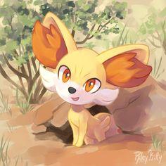 "rileykitty: ""Fennekin emerging from her desert den to say hello! Pokemon W, Pokemon Ships, Pokemon Comics, Pokemon Fan Art, Cool Pokemon, Anime Comics, Pikachu, Pokemon Stuff, Pokemon Painting"