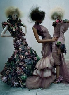 "Harleth Kuusik, Aya Jones, and Nastya Sten wear Alexander McQueen, Sarabande, Spring/Summer 2007 in ""Dark Angel"" for Vogue UK March 2015 photographed by Tim Walker"