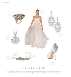 Chic and Oh So Sophisticated!  Adding silver elements is a great way to add romance and glamour to your day! The attention to detail in the jewelry, shoes, and accessories make a simple wedding dress stand out!   #librideandgroom #bridal #weddings #inspiration #silver