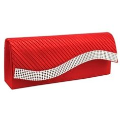 Womens Satin Pleated Clutch Bag Wedding Bridal Prom Evening