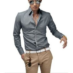Men Stylish Long Sleeve Button Down Stripes Detail Casual Shirt Gray M