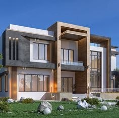 Modern Exterior House Designs, Modern Architecture Design, Facade Design, Interior Architecture, Interior Design, Facade House, House Front, Villas, Mansions
