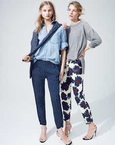 J.Crew women's chambray pocket shirt, Reese pinstripe track pant, mixed leather strappy high-heel sandals, Collection cashmere pointelle boyfriend sweater in heather grey, sequin firework floral pant in navy, and mixed leather strappy high-heel sandals.
