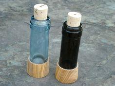 Salz & Pfeffer recycelte Flaschen + Olivenholz von Alentejoazul auf DaWanda.com