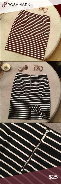 """Michael KORS Striped Skirt New Stretchy black & white skirt size 6. New w/o tags. No flaws. Paid $69. Waist measures 15"""" wide laying flat and length is 21"""". 4"""" slit in back. Perfect shape!  Happy to bundle :)  Lots of Victoria Secret, Pink, Nike, Under Armour, Lululemon, Patagonia, Miss Me, and other Buckle items to list. Follow me to check out the great deals. Michael Kors Skirts"""