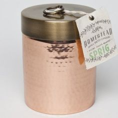 Aspen Bay Found Goods Market Homestead Hammered Canister 14.5 Oz. - Sprig