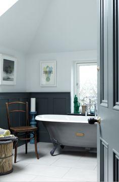 A moody-hued traditional bathroom in a Sandymount home Attic Bathroom, Grey Bathrooms, Bathroom Sets, Beautiful Bathrooms, Small Bathroom, Tranquil Bathroom, Charcoal Bathroom, Feng Shui Bathroom, Design Japonais