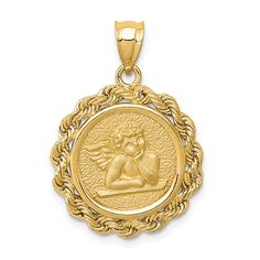 ApplesofGold.com - 14K Gold Angel Pendant with Rope Bezel Jewelry $375.00 Fine Jewelry, Women Jewelry, Jewellery, Angel Pendant, Christian Jewelry, Gold Polish, Selling Jewelry, Gold Material, Gifts For Her