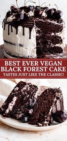 The best ever decadent vegan black forest cake filled with fresh sweet cherries and a delicious dairy free whipped cream, and topped with a vegan ganache! You won't believe this black forest cake is vegan! Tastes just like the classic black forest gateau. #cake #vegan #glutenfree #dairyfree #dessert Healthy Chocolate Desserts, Best Vegan Desserts, Healthy Dessert Recipes, Gluten Free Desserts, Vegan Chocolate, Cake Recipes, Vegan Recipes, Dairy Free Whipped Cream, Coconut Whipped Cream