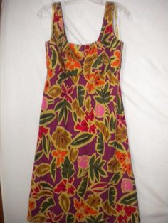Talbots Size 8 Sleeveless Floral Jungle Theme Linen Blend Womens Sundress Dress #Talbots #Sundress #Versatile