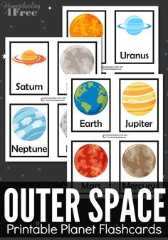 FREE outer space printable planet flashcards. Great for a space unit or print doubles and make it a matching game.