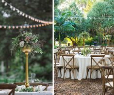 Outdoor Garden Wedding Reception Décor with Rustic Wooden Chairs and Tall Blush and Champagne Wedding Centerpieces with Greenery | Sarasota Wedding Florist Andrea Layne Floral Design| Rentals by A Chair Affair