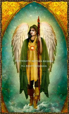 This is a larger print of the front of the Saint Archangel Raphael card, designed by Matylda Biedron, that is absolutely perfect for