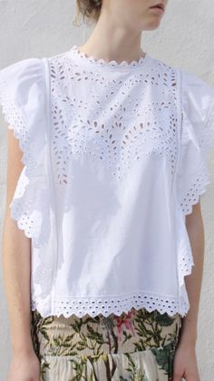Isabel Marant Étoile Salvia Top in White ($425.00) | 100% Cotton Sizes: 34, 36, 38, 40 Call 1.877.342.6474 to order!