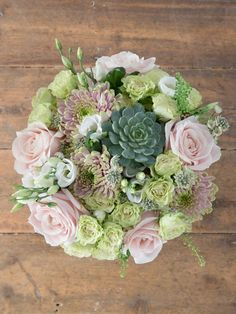 Pink and green chrysanthemum, with soft peach roses, astrantia and delicate lisianthus from Flowersa Direct (the succulent will last for months and be a happy memory of the bouquet!) £45 inc postage