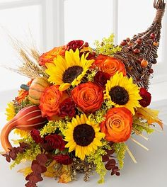 Ftd Fall Containers | FTD Cornucopia - DELUXE...Call Goldberry's Florist & Gifts 800-392-9333