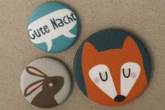 Brosche, Button-Set Fuchs und Hase // brooch fox and hare via DaWanda.com