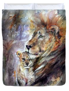 #Cecil The #Patriarch No More #Lion #Cat #Animal #Pride #Kitten #Cub #Wildlife #Nature #Queen or #King #Duvet #Cover by #Fine #Art #Artist #GinetteCallaway #Ginette #Callaway. Available in king, queen, full, and twin.  Our soft microfiber duvet covers are hand sewn and include a hidden zipper for easy washing and assembly.  Your selected image is printed on the top surface with a soft white surface underneath.  All duvet covers are machine washable with cold water and a mild detergent.
